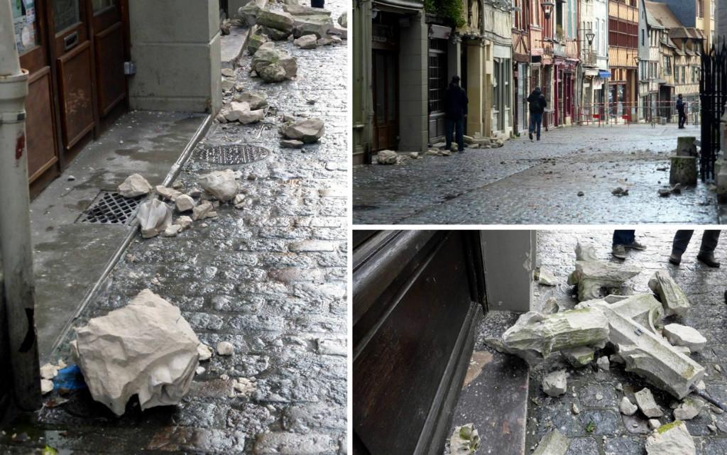 Chutes de pierres à l'église Saint-Maclou de Rouen